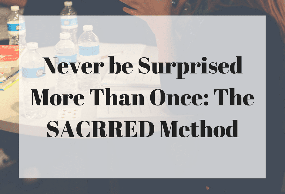 Never be Surprised More Than Once: The SACRRED Method